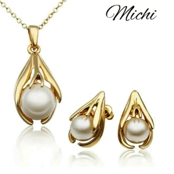 Michi T Jewelry Simulated Freshwater Pearl Necklace Earring Set